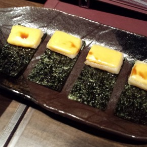 Grilled mochi with cheese